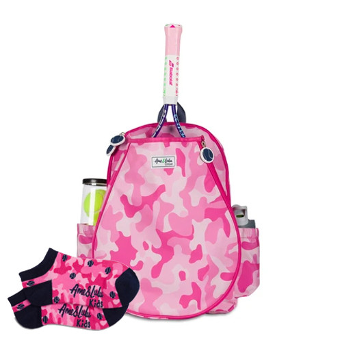 Ame & Lulu Little Love Pink Camo Girls Tennis Backpack + Socks