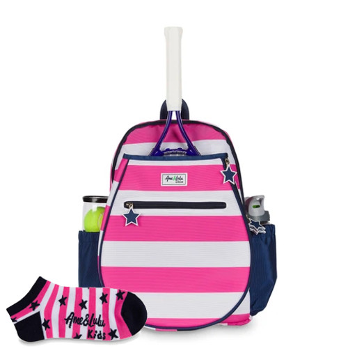 Ame & Lulu Big Love Candy Girls Tennis Backpack + Socks