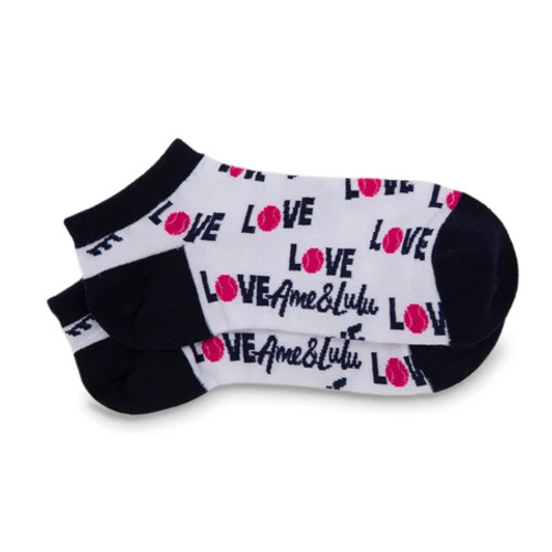 Ame & Lulu Pink Love Tennis Sport Socks