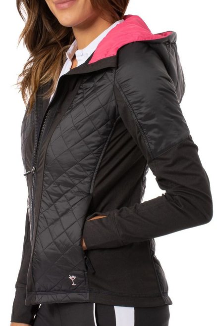 Golftini Black Hooded Windbreaker Jacket