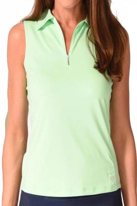 Golftini Green Sleeveless Tech Polo