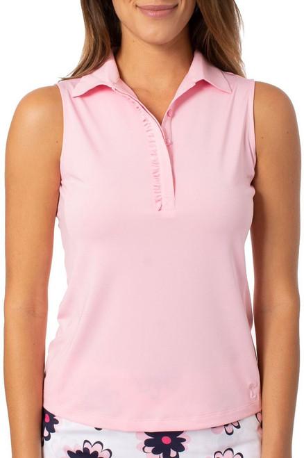 Golftini Light Pink Sleeveless Ruffle Tech Polo