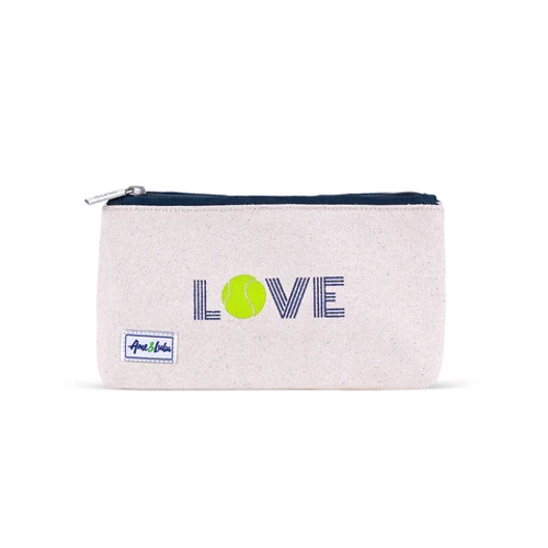 Ame & Lulu Brush It Off Green Love Tennis Cosmetic Case