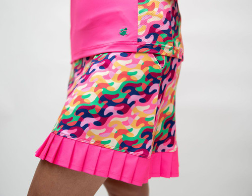 Birdies & Bows On The Fringe Golf Skort - Colorful Clubs/Hot Pink