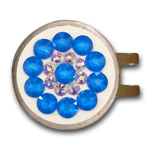 Blingo Electric Blue on White Ladies Golf Ball Marker