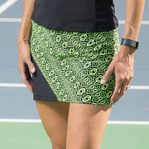 FestaSports Lime Geometric with Black Tennis Skort