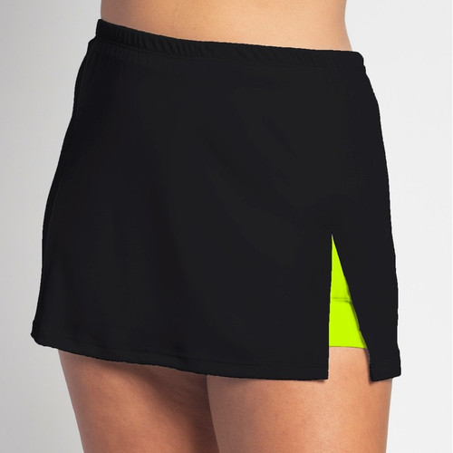 FestaSports Solid Black with Neon Shorts Side Slit Skort