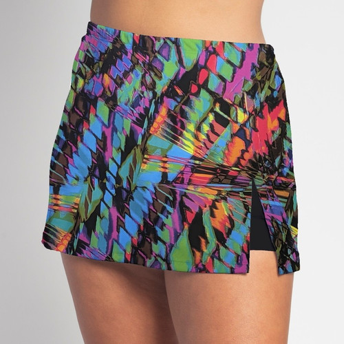 """FestaSports Caribbean side slit skort is short and sassy with a 6"""" slit on the left thigh to reveal the shorts underneath"""