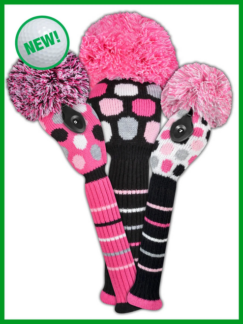 Just4Golf Dot Headcover Set - Pink, White Black