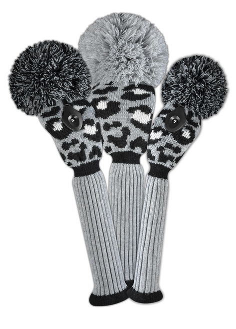 Just4Golf Leopard Headcover Set - Gray, Black, White