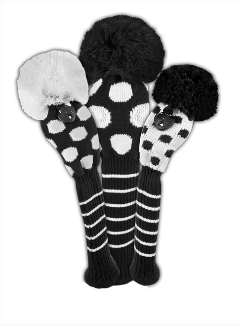 Just4Golf Dot Headcover Set - Black & White