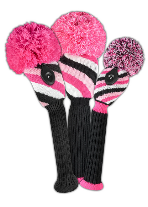 Just4Golf Diagonal Stripe Headcover Set - Pink, Black, White