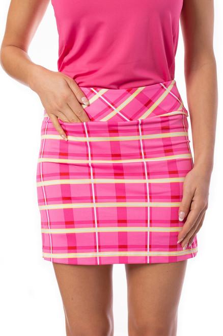 Golftini Pink & Yellow Plaid Pull-On Stretch Skort