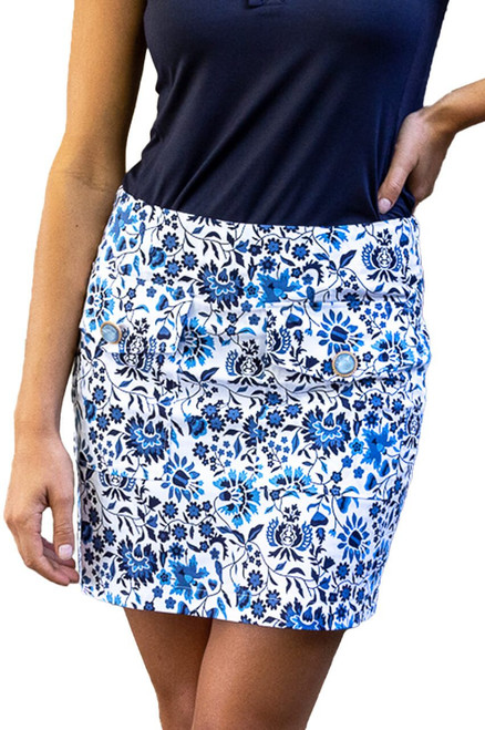 Golftini Blue & White Stretch Cotton Skort   Island Hopper   Available in 2 Lengths