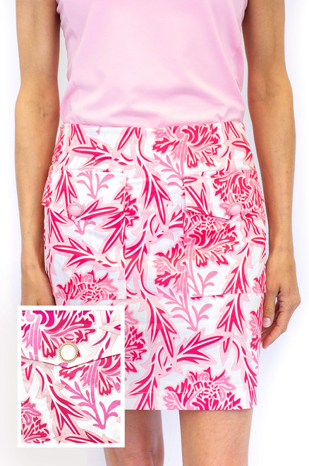 Golftini Pink & White Floral Stretch Cotton Skort | Rosé | Available in 2 Lengths