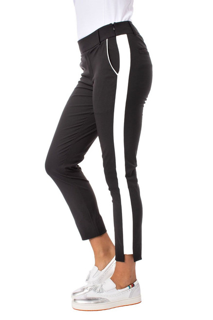 Golftini Black with White Stripe Pull-on Stretch Ankle Pant | Flirtini