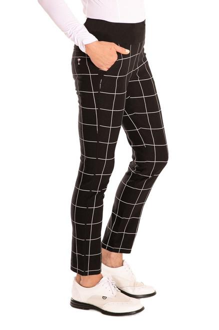 Golftini Trophy Pull-On Stretch Twill Black & White Plaid Golf Pants