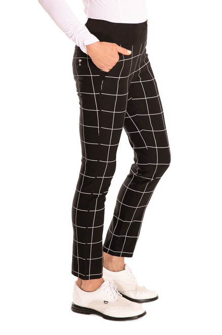 Golftini Trophy Pull-On Stretch Twill Black & White Plaid Golf Pants