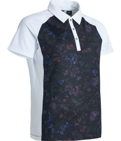 Abacus Sportswear Black Floral Lisa Polo