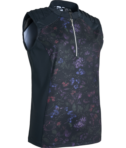 Abacus Sportswear Lisa Sleeveless Black Floral Polo