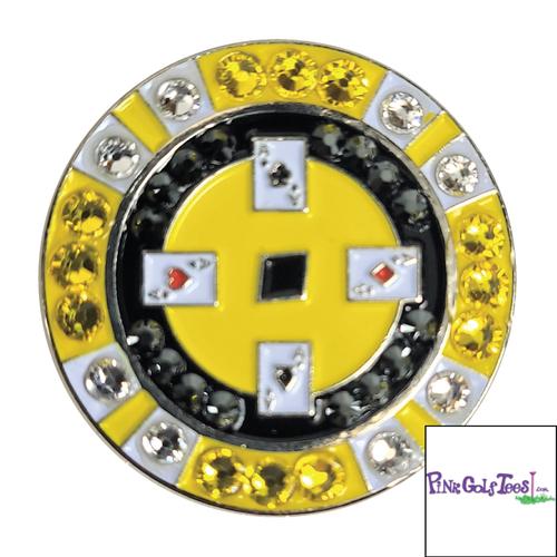 Bonjoc Yellow Poker Chip Swarovski Crystal Ball Marker