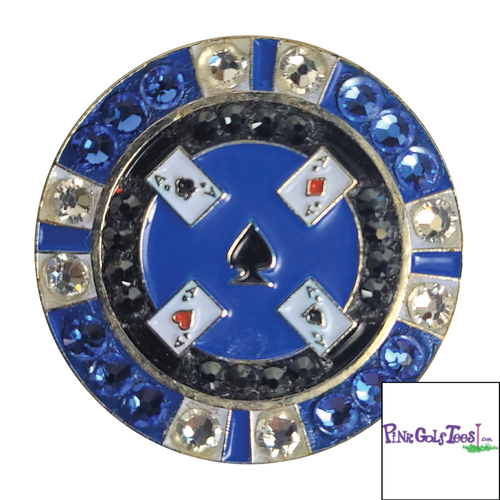 Bonjoc Blue Poker Chip Swarovski Crystal Ball Marker