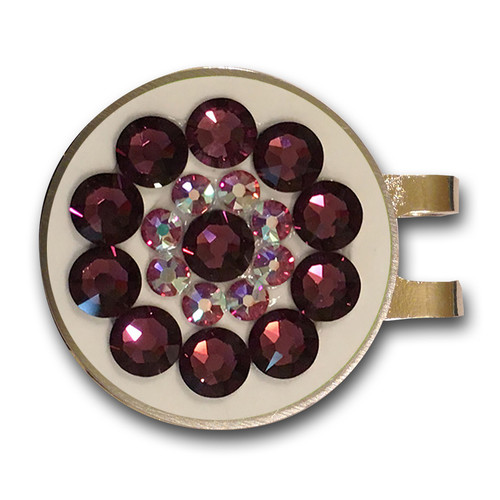 Blingo Amethyst on White Ladies Golf Ball Marker
