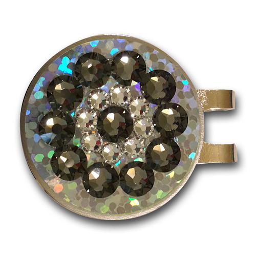Blingo Black Diamond on Silver Glitter Ladies Golf Ball Marker