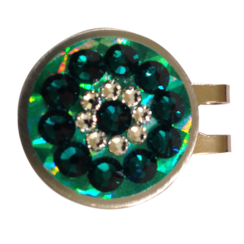 Blingo Emerald Reflective Ladies Golf Ball Marker