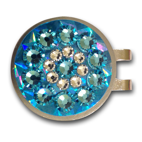 Blingo Light Blue Reflective Ladies Golf Ball Marker