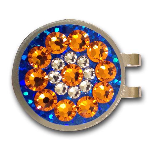 Blingo Orange on Blue Glitter Ladies Golf Ball Marker