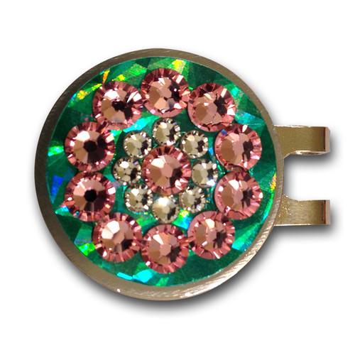Blingo Pink on Emerald Reflective Ladies Golf Ball Marker