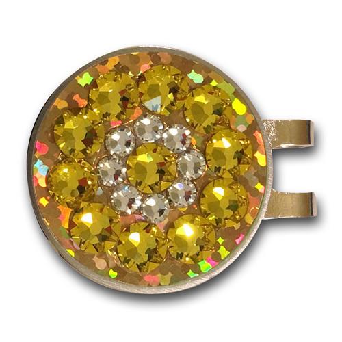 Blingo Yellow Glitter Ladies Golf Ball Marker