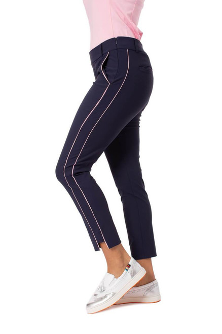 Golftini Navy with Light Pink Stripe Pull-On Stretch Ankle Pant