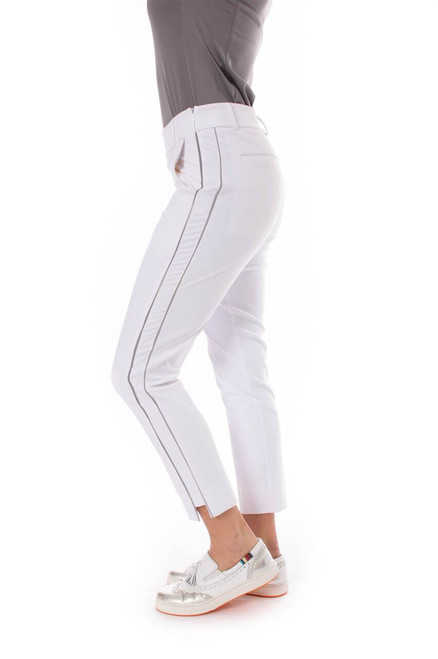Golftini White with Silver Piping Pull-On Stretch Ankle Pant