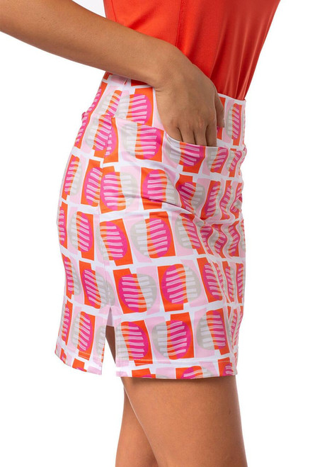 """Golftini Multicolor Pull-On Stretch Skort 18"""" Dreamsicle"""