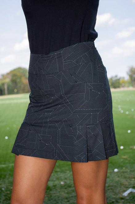"Golftini Black & White Performance Side Pleat Skort 18"" | Gelato"