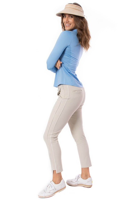 Golftini Sky Blue Long Sleeve Zip Stretch Polo