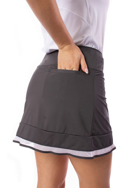 Golftini Charcoal Grey Top Golf Pull On Mesh Trim Skort This pull-on sport skirt is the perfect crossover piece for your active lifestyle. From golf and tennis to brunch or the beach, our charcoal grey skort with a white mesh trim is sure to be your go-to.