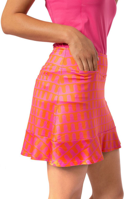 """Golftini Hot Pink & Orange Pull-On Ruffle Stretch Skort 16.5"""" Push Up Pop -  golf skort also features a ruffle on the bottom, the perfect flare for golfers and those on the move."""