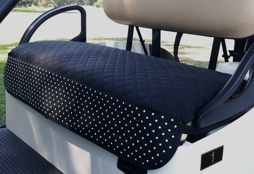 Golf Chic Black Quilted Cart Seat Cover with B&W Polka Dot Outdoor Treated Print Trim