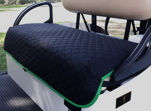 Golf Chic Black Quilted Cart Seat Cover with Green Binding