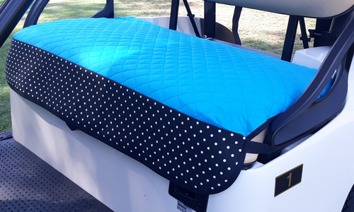Golf Chic Turquoise Quilted Cart Seat Cover with B&W Polka Dot Print Trim