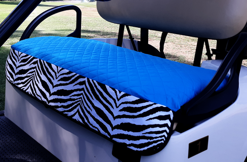Golf Chic Turquoise Quilted Cart Seat Cover with B&W Zebra Print Trim