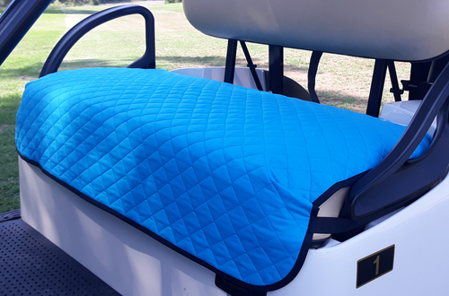 Golf Chic Turquoise Quilted Cart Seat Cover with Black Binding
