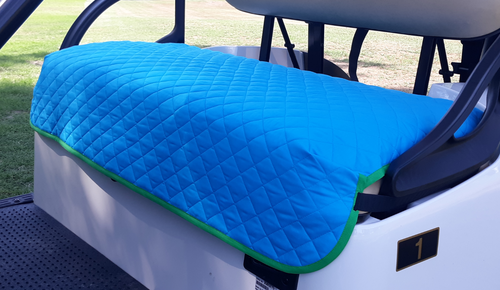 Golf Chic Turquoise Quilted Cart Seat Cover with Green Binding