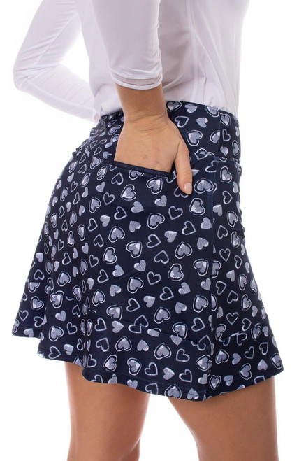 """Golftini Crazy In Love Navy and White Pull-On Ruffle Stretch Skort 16.5"""""""