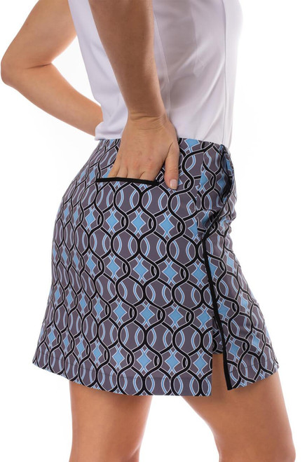 """Golftini Twist N' Shout Charcoal Performance Stretch Skort Available in 2 Lengths - 17.5"""" & 19"""""""