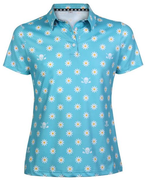 Tattoo Golf Crazy Daisy Cool-Stretch Women's Golf Shirt (Aqua)