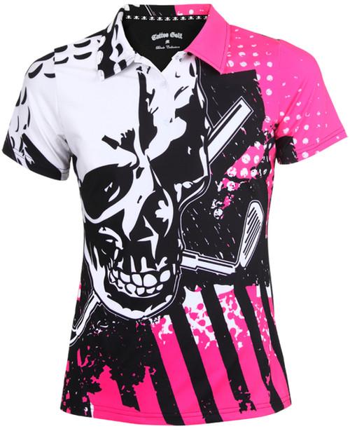 Tattoo Golf Blade Ladies Golf Shirt (Pink)